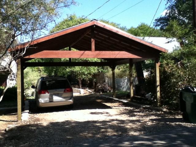 Double carport craftsman shed austin by build austin for Craftsman carport