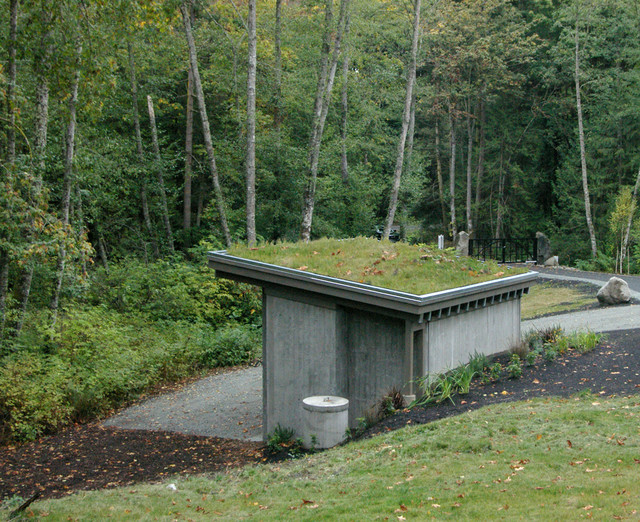 Eco Tip # 1 Green Roofs and Cisterns eclectic-garage-and-shed