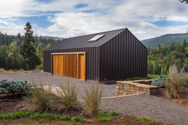 Elk valley tractor shed modern shed portland by for Tractor garage plans