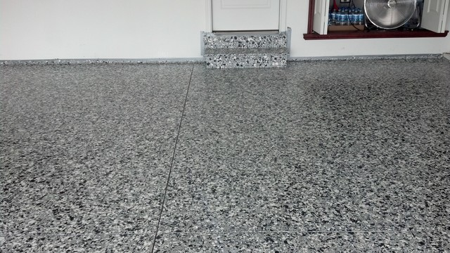 epoxy garage floor with large and small flake granny flat or shed