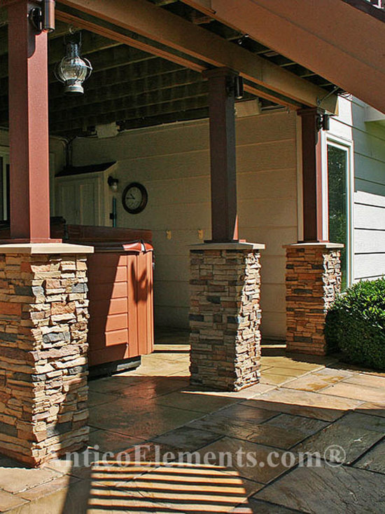 Faux stone columns post wraps column wraps for Garage column wrap