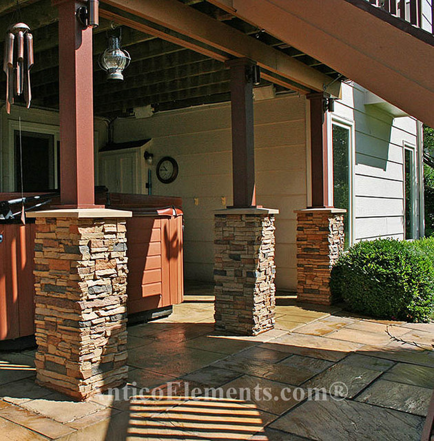 Faux stone columns contemporary garage and shed san for Garage column wrap