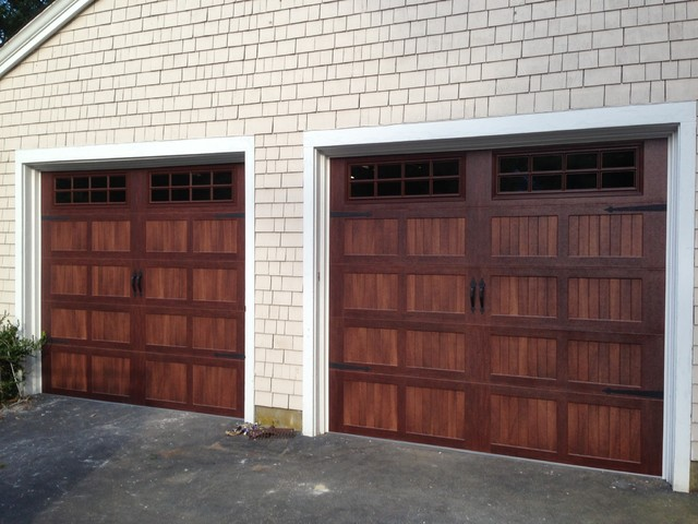 Faux wood garage doors modern shed boston by for Faux wood doors
