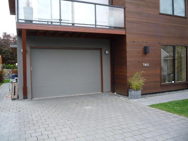 Flush style steel insulated garage door contemporary garage and