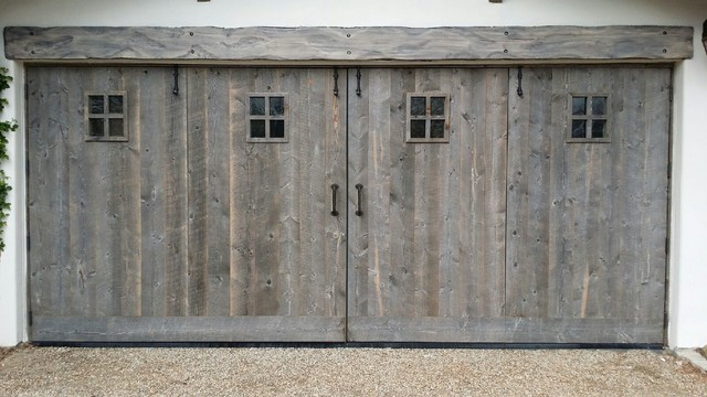 French garage doors rustic garage and shed orange for Rustic wood garage doors