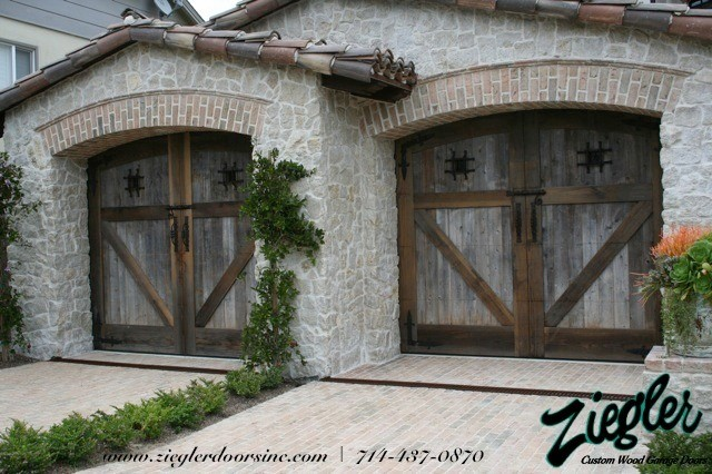 French Style Garage Door Traditional Shed Orange