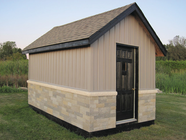 Fusion dry stack stone traditional garage and shed for Stone garden shed designs