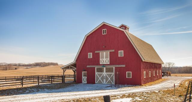 Gambrel horse barn in nebraska traditional shed for Gambrel garage kits