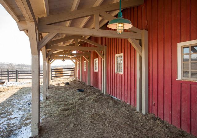 Gambrel Horse Barn In Nebraska Traditional Garage And