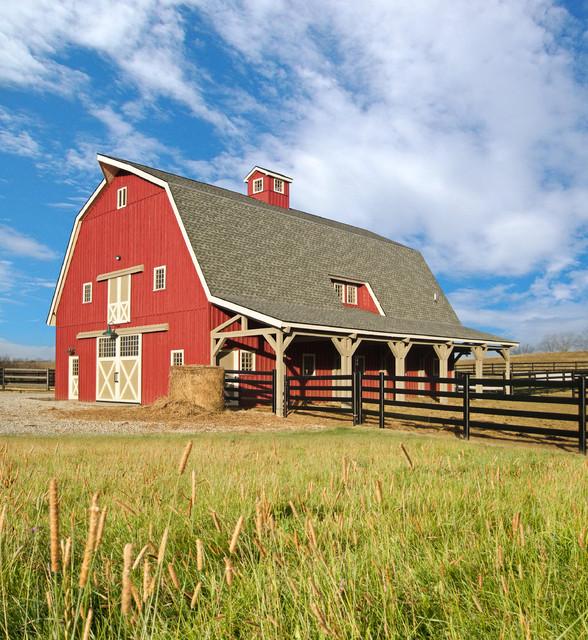 Gambrel horse barn in nebraska traditional garage and Gambrel garage kit