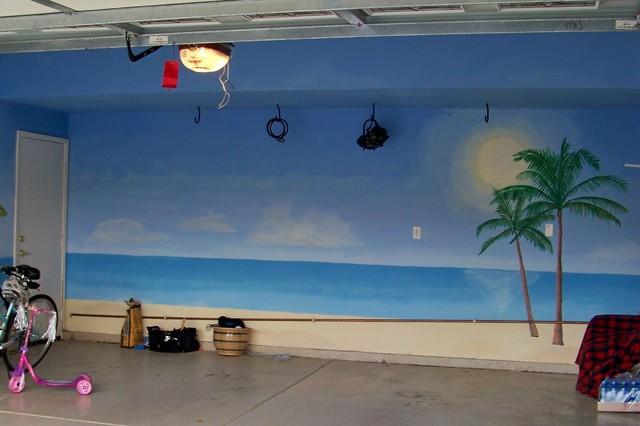 Garage Beach Mural Scene Beach Style Garage And Shed