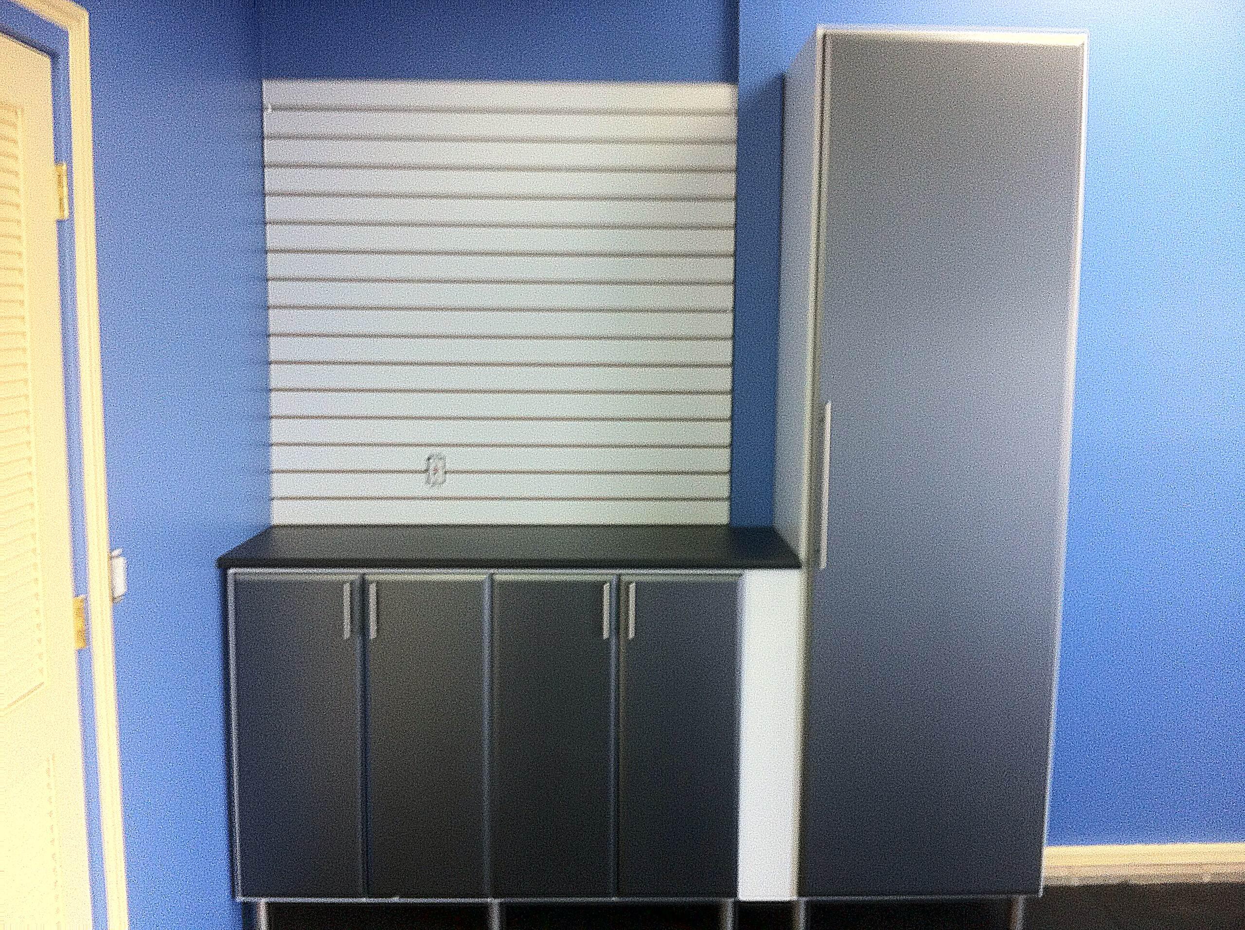 Garage Cabinets with Carbon Fiber doors