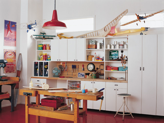Garage eclectic home office