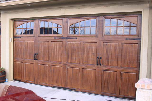 Garage doors traditional shed kansas city by fauxs for How to paint a garage door to look like wood