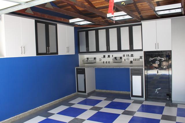 Garage LA - grey, blue, white floor modern-garage-and-shed