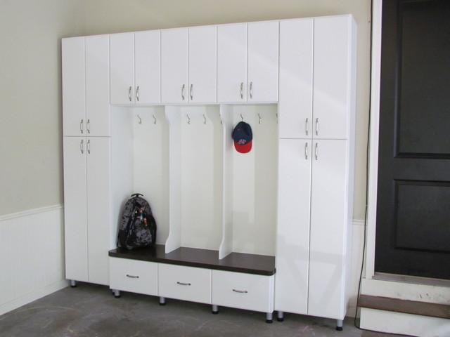 Garage Mudroom with Doors - Garage And Shed - atlanta - by Atlanta Closet & Storage Solutions