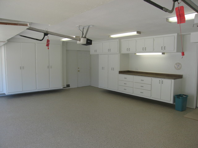 Garage Renovation Loft Cabinets Epoxy - Traditional - Garage And Shed - los angeles - by A ...