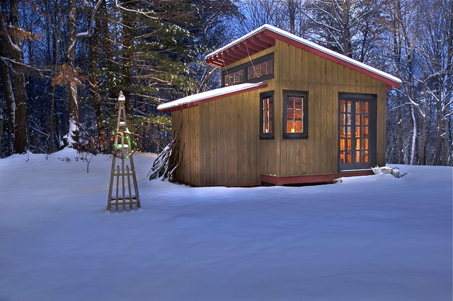 Garden shed modern shed other by brookstone builders for Modern cabin plans with loft