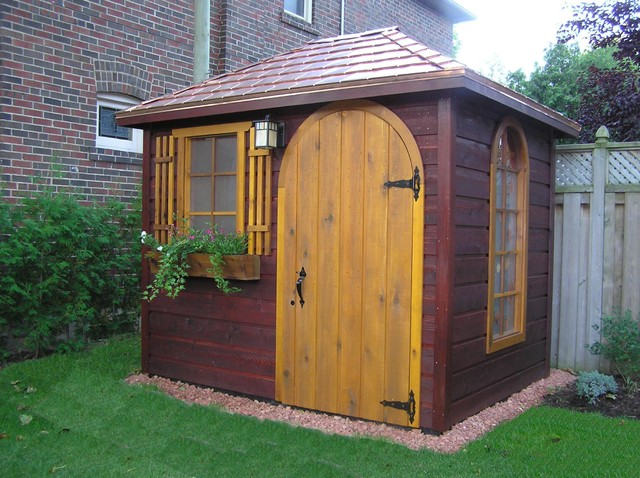 Garden shed with copper roofing eclectic garage and for Garden shed garage