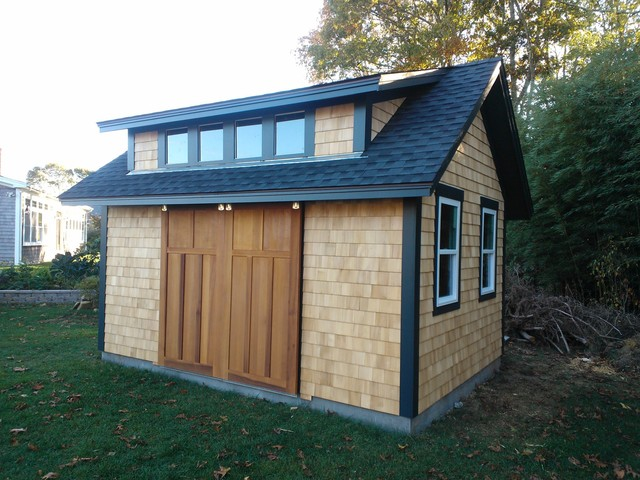 Garden shed with sliding barn doors craftsman shed providence
