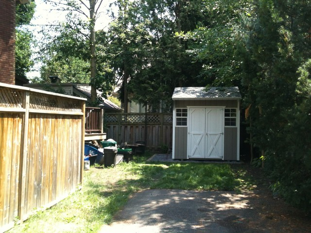 Backyard shed houzz bike storage shed plans for Traditional garden buildings