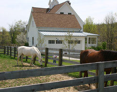 Gothic Revival Farmhouse traditional garage and shed