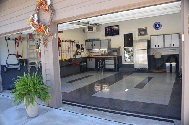 Great looking garage with racedeck garage flooring by race for Great garage floors