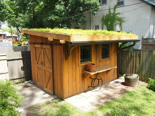 Green roof garden shed traditional garage and shed for Garden building design ideas