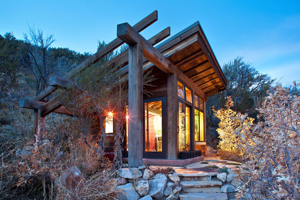 Mountain style detached studio / workshop shed photo in Salt Lake City
