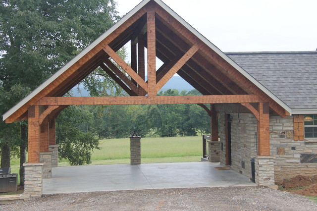 Hand hewn timber frame carport - Rustic - Garage And Shed - little ...