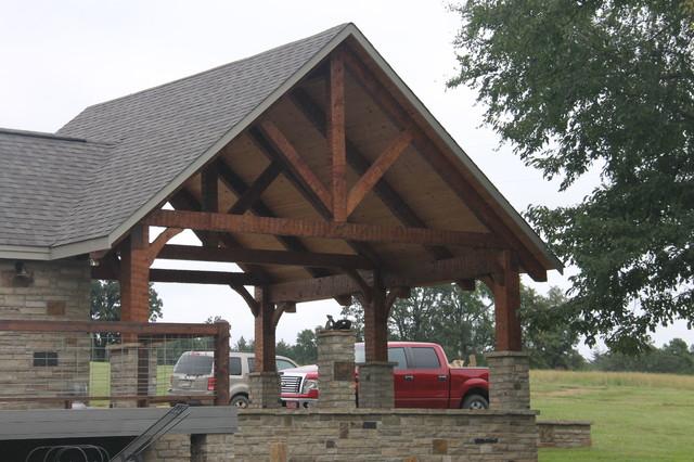 Hand hewn timberframe carport rustikal ger teschuppen for Garage ad sainte foy de peyroliere