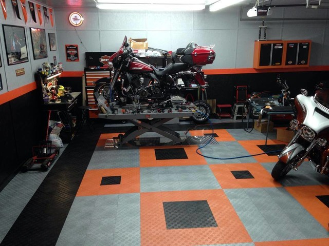 Harley Davidson Home Garage With RaceDeck Flooring And Shed By