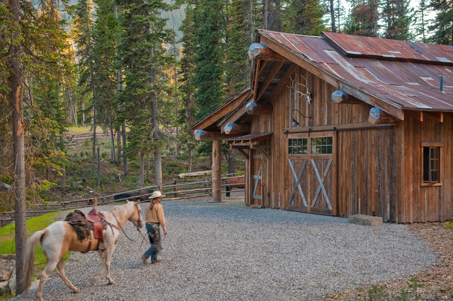 Headwaters Camp Rustic Barn Design, Big Sky, Montana rustic-shed