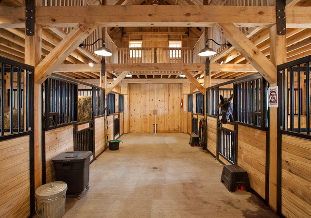 hillside horse barn traditional shed - Horse Stall Design Ideas