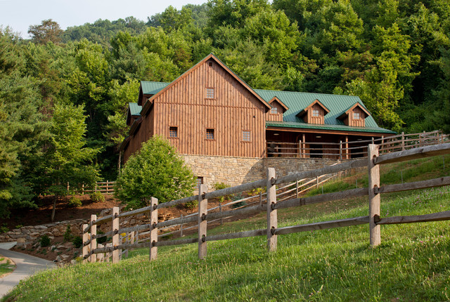 Hillside Horse Barn - Traditional - Garage And Shed ...
