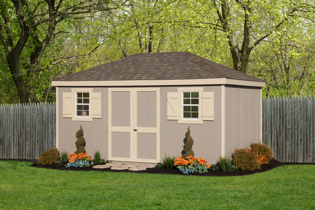 Hip roof shed traditional garage and shed for Hip roof barns