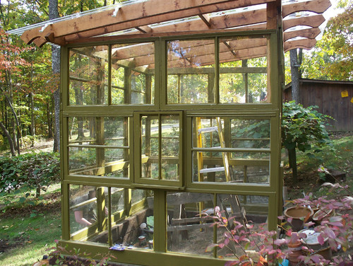 Greenhouses from Old Windows and Doors • Insteading on square foot gardening plans, a-frame cabin plans, window home, window greenhouse ideas, window pane greenhouse, window frame greenhouse, window box greenhouse,