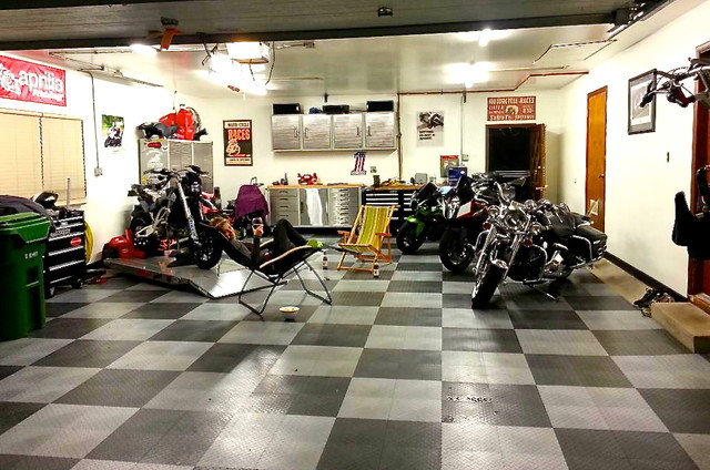 Man Cave Store Michigan City : Home motorcycle garage with racedeck flooring