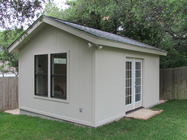 homey backyard office traditional garage and shed austin by