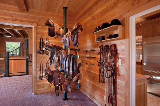 Horse Stall Design Ideas man caves are commonly built adjacent to workshops and garages Traditional Barn Idea In Santa Barbara