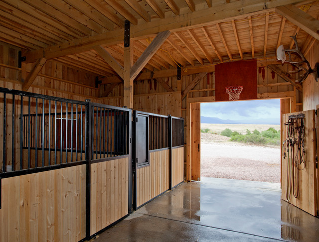 Horse Barn in Colorado farmhouse-garage-and-shed