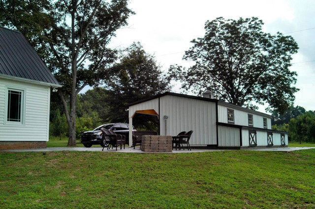 horse barn turned dog kennel farmhouse garage and shed