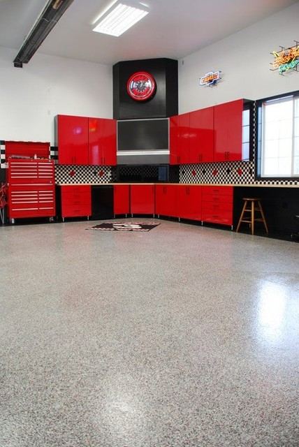 Hot Rod Garage Floor Contemporary And Shed