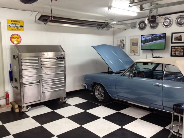 Hot Rod Garage With Racedeck Flooring Traditional Shed