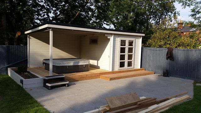 Hot Tub Garden With Sail Sheet Contemporary Granny Flat Or Shed