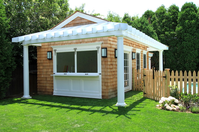 Huntting pool house exterior bar elevation traditional for Traditional garden buildings