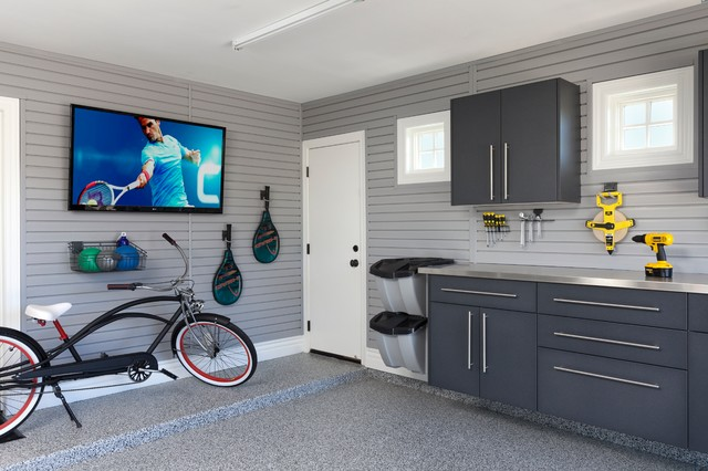 Man Cave Garage contemporary-garage-and-shed
