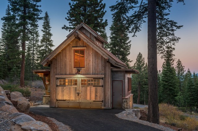 Martis camp hillside barn retreat rustic shed san Barn guest house plans