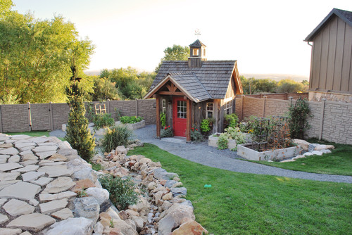 Outdoor patio with garden shed