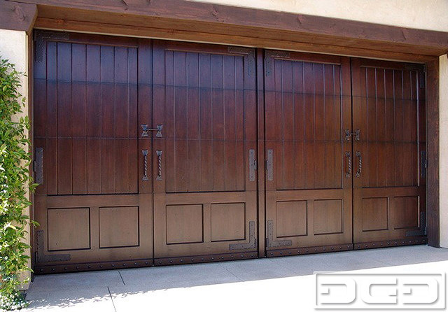 Mediterranean Style Garage Door   Handcrafted in Mahogany  amp  Hand Forged Hardware shed. Mediterranean Style Garage Door   Handcrafted in Mahogany  amp  Hand